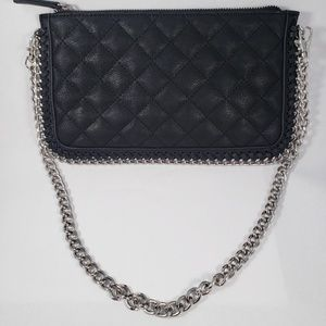 Forever 21 Chain & Qulited Black Leather Clutch